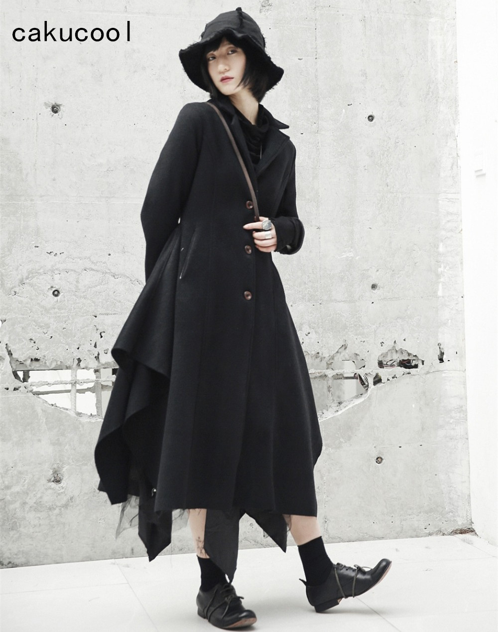 1b33d84daf8c8 US $69.77 5% OFF|Cakucool New Winter Coat Women Slim Asymmetric Design  Black Skirt Outwear Novelty Design Gothic Wool Blends Femme Women  Clothing-in ...