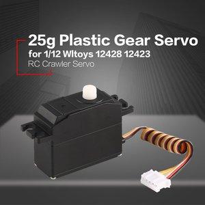 Image 3 - 25g Kunststoff Servo Lenkgetriebe Servo für 1/12 Wltoys 12428 12423 RC Auto Lkw Modell Steering Teil Zubehör Micro RC Servo