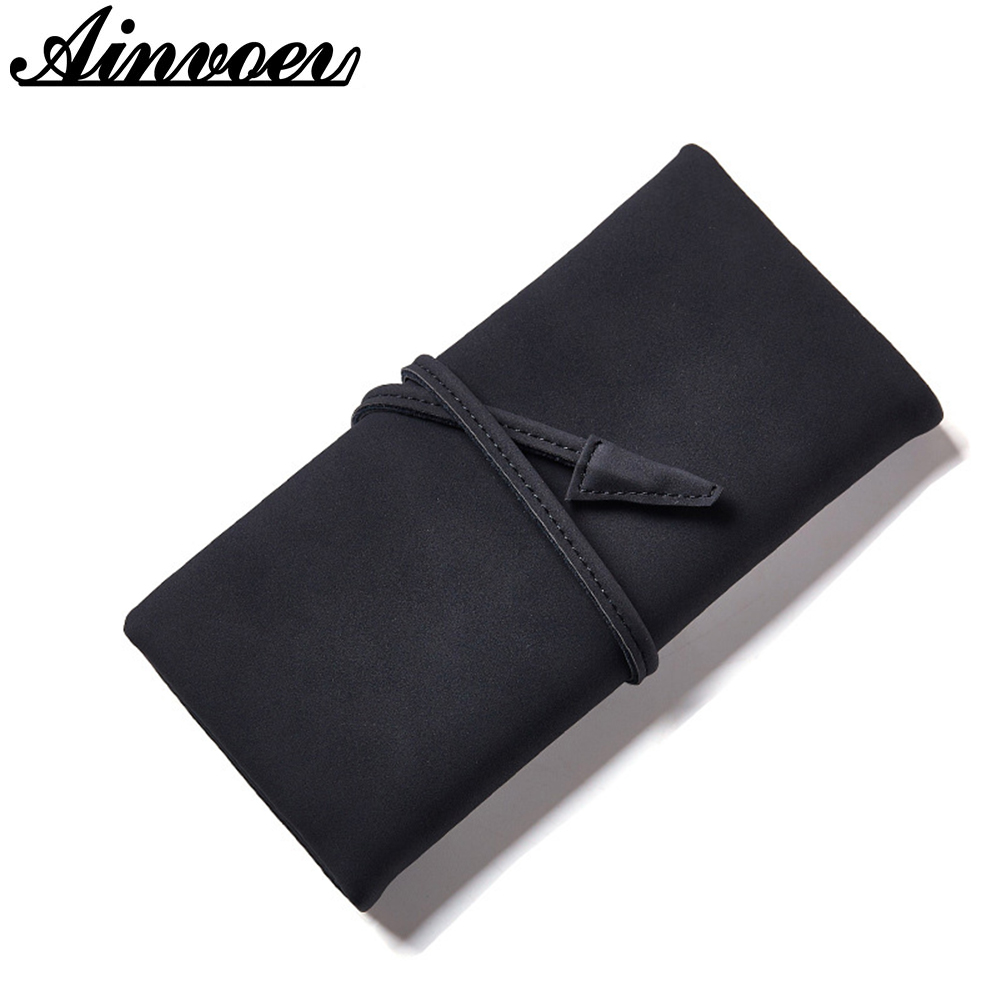 Ainvoev Large Capacity Women Clutch New Wallet Split Leather Wallet Female Long Wallet Women Zipper Purse Strap Coin Purse bag