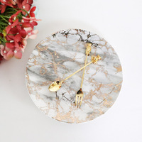 The European simple texture of marble gilt ceramic plate 8 inch disc Western style food buffet flat decorative plate