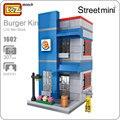 Loz mini calle juguetes para niños bloques de bloques de construcción de la arquitectura de la ciudad tienda restaurante de hamburguesas burger king juguete modelo 1602