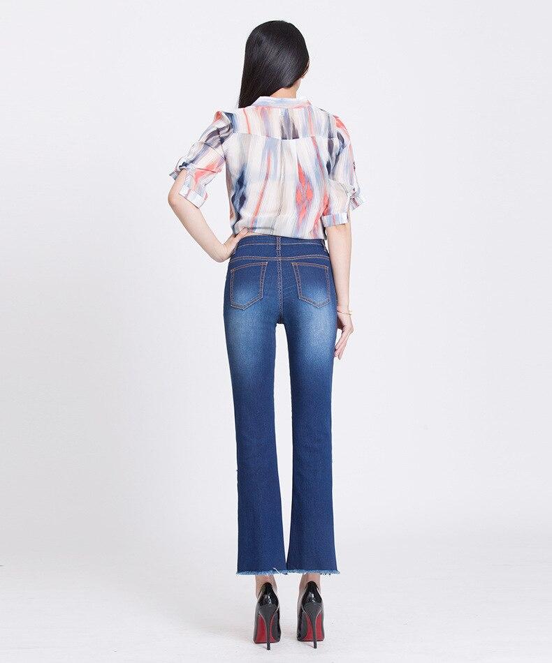 KSTUN hight waist jeans woman bell bottom emboridered denim pants push up net designer women slim fit gloria+jeans plus size 36 26