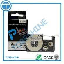 Free shipping 10 pcs/lot Comapatible label tapes 9mm black on white PT-9WE XR-9WE1 for label maker EZ Label