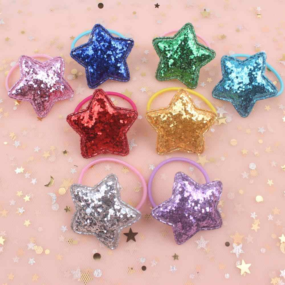 2019 new Fashion five-pointed star sparkling Elastic Hair Bands girls Head rope hair accessories for kids Ponytail holder 1pcs