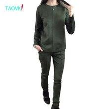 Taovk новые модные российские стиль Осенняя женская обувь замшевые спортивный костюм Для женщин Худи 2 комплект из футболки + длинные штаны) Комплект для досуга