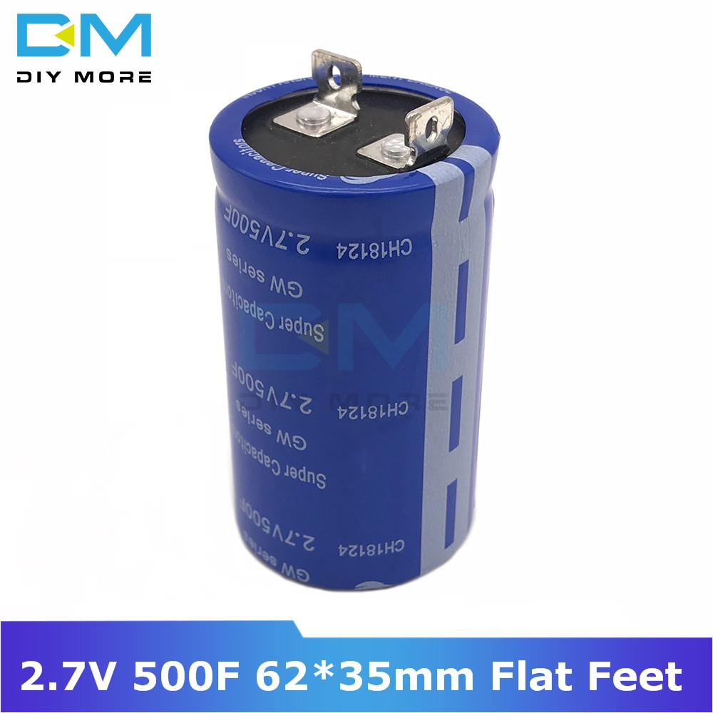 Super Farad Capacitor 2.7V 500F 62*35mm Vehicle Rectifier High Frequency Low ESR Capacitor 35x62mm Ultracapacitor For Car