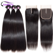 CRANBERRY Brazilian Straight Hair 3 Bundles With Closure 100% Human Hair Bundles With Closure Non Remy Human Hair Extensions(China)