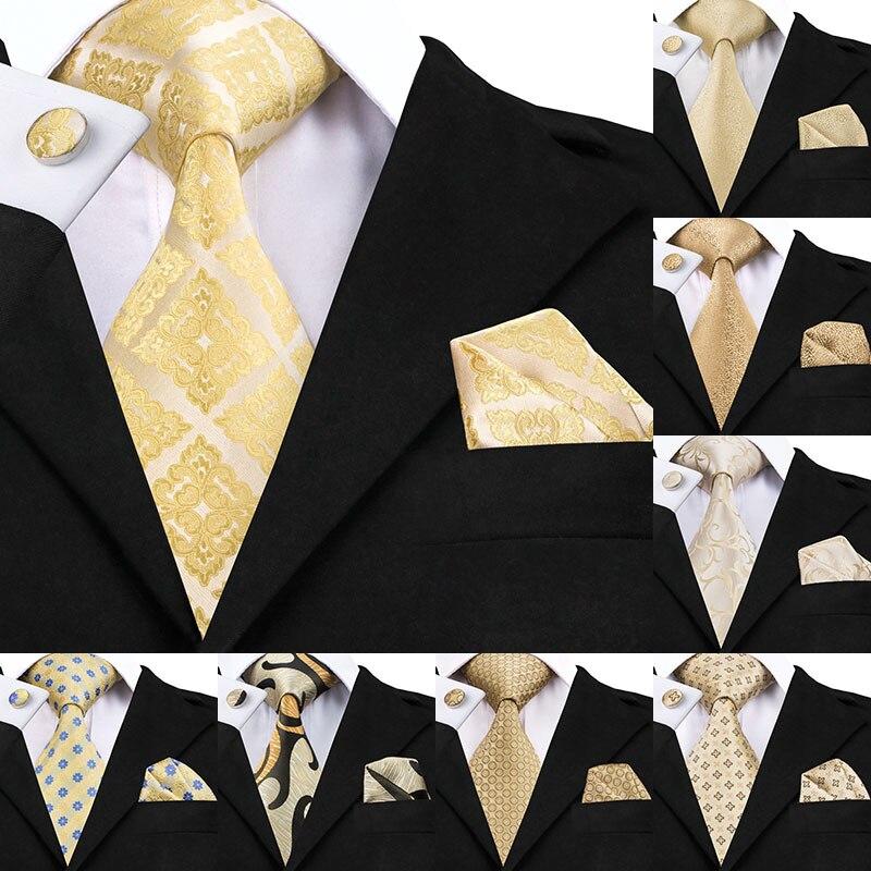SN-1036 Gelb Floral Krawatte Hanky Manschettenknöpfe Set Männer der 100% Seide Gold Krawatten für männer Formale Männlichen Krawatte Hochzeit Party bräutigam Corbatas