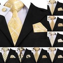 b96a0eb78118f SN-1036 żółty Floral krawat spinki Hanky zestaw męskie 100% jedwabne złota  krawaty dla
