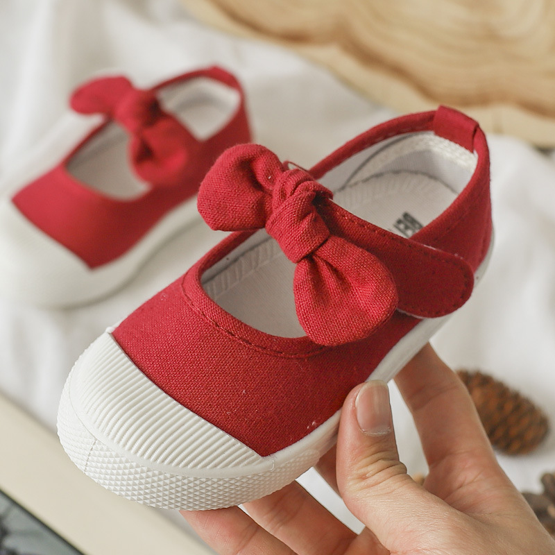 2019 New Children's Canvas Casual Shoes Children's Baby Cute Bow Flat Shoes Girls Princess Solid Color Sports Shoes 13.5-18cm
