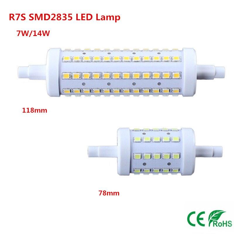 R7S SMD2835 LED Lamp dimmable 7W 14W AC85 265V 78mm 118mm warm white white LED Spot