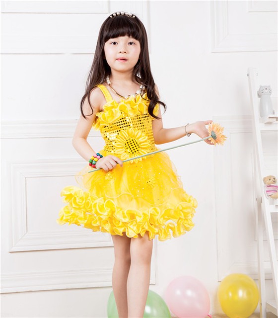 New Fashion 2015 Summer Little Girls Yellow Princess Baby Dresses Girl Party Dancing Dress Baby Girl Clothes