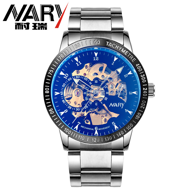 NARY 2016 Brand Luxury Brand Sports Men s Automatic Skeleton Mechanical Military Wrist watch Men full