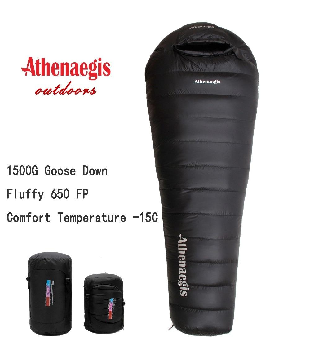 Athenaegis فوق العاده سبک ضد آب راحت غاز 1500 گرم غاز پایین پر کردن را می توان کیسه خواب زمستانی شکافته