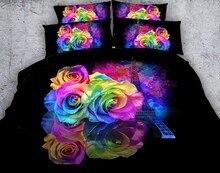 Paris Bedding set 3D Rose Flower Floral quilt duvet cover Tower bed in a bag sheet linen Super King queen size full twin 4pcs