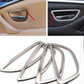 New Sliver Stainless Steel Car Interior Door Handle Trim Cover For BMW 5 Series F10 F18 520 525 2011-2016 4PCS/SET