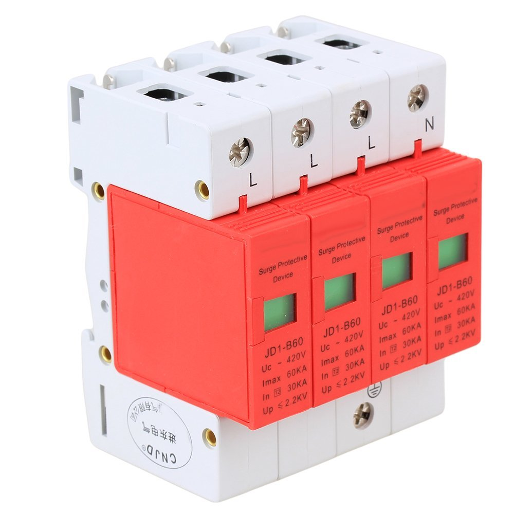 Gray and Red AC 420V 60KA Max 4P Standard 35mm DIN Rail Surge Protection Device SPD Lightning Arrester шкаф платяной skyland skyland born b 702 2