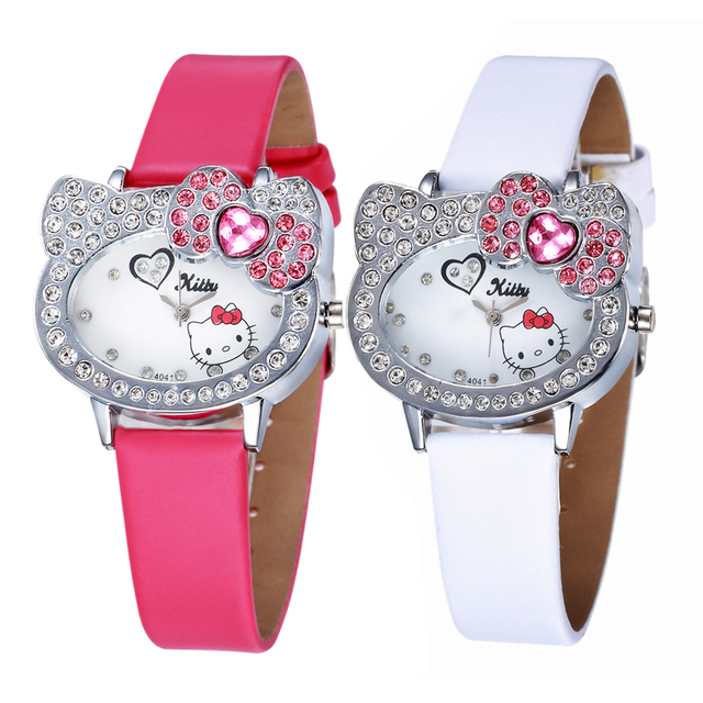 Lovely Hello kitty New Kid Watch Children Girl Pink Crystal 2019 Quartz Watches