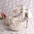 Encantos New Design Handmade Personalizado Sandálias de Casamento Do Marfim Peep Toes com Arco
