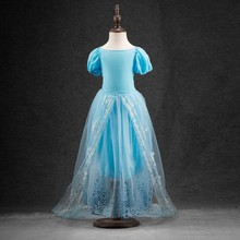 Fashion cute cinderella girls dresses have a tail princess dress cosplay vestido children's clothes for Christmas gift