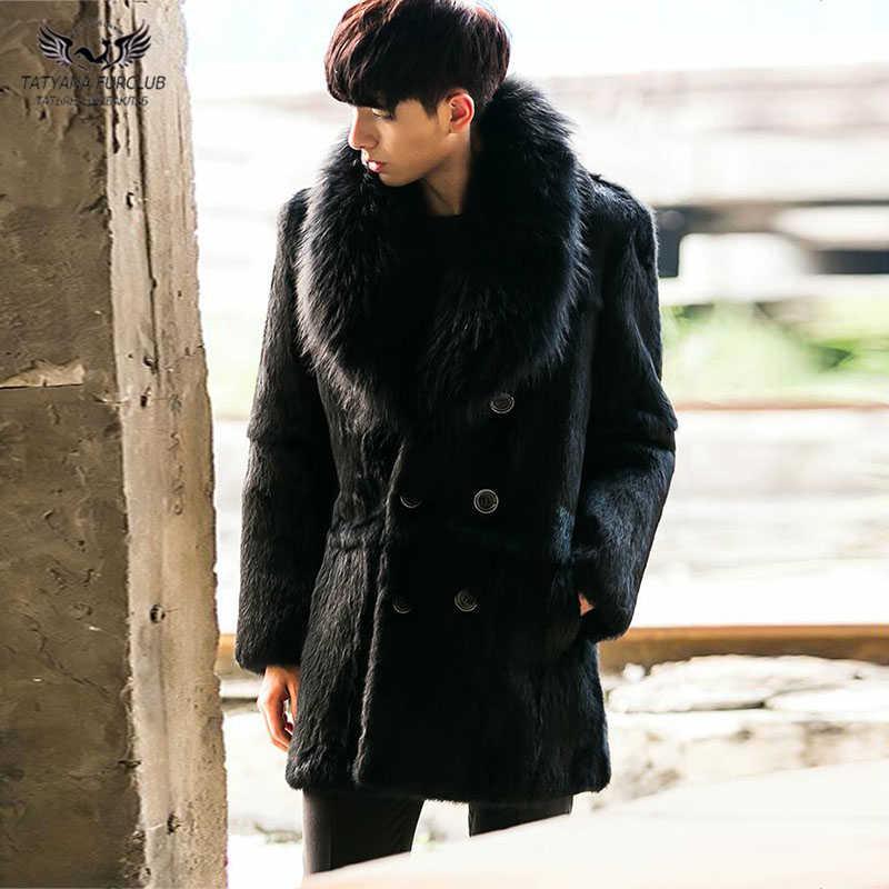 3ef5d0da82b40 Tatyana Furclub Full Pelt Rabbit Fur Coats For Men Nature Fox Fur Lapel  Collar Real Fur Coats With Raccoon Dog Furs Warm Jacket
