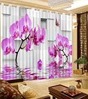 3D Curtain modern living room curtains Purple flower butterfly three dimensional geometric figure Blackout Shade Window Curtains
