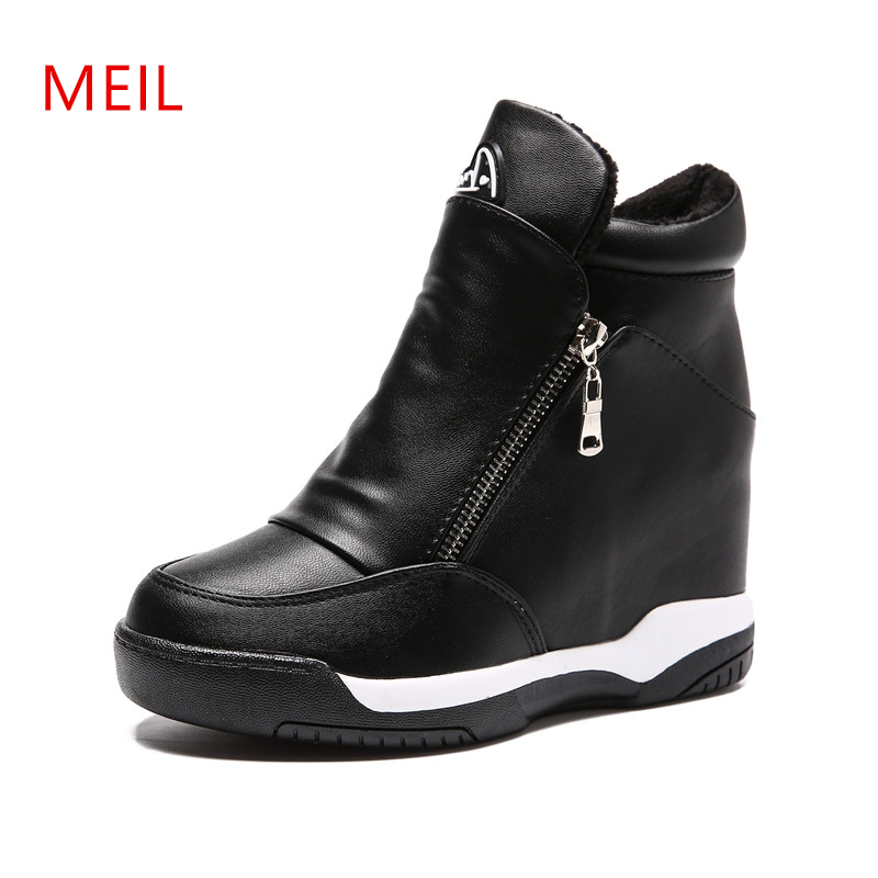 Wedge Sneakers Platform 2019 High Top Women Sneakers Spring Autumn New Hidden Heel Casual Black Shoes Side Zip Women White Shoes
