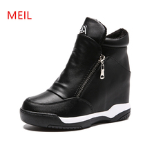Wedge Sneakers Platform 2019 High Top Women Spring Autumn New Hidden Heel Casual Black Shoes Side Zip White