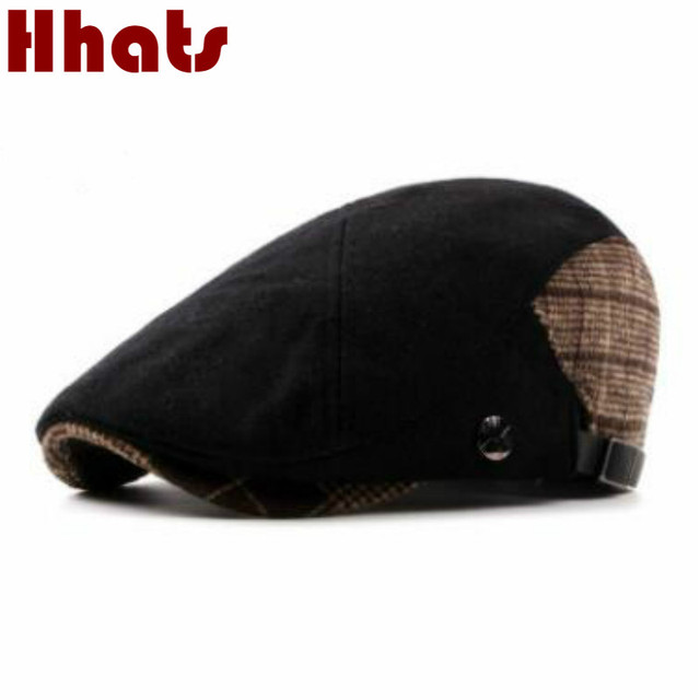 2744e64a2f8 which in shower women men fashion patchwork plaid woolen beret adjustable  thick warm wool winter peaked cap male newsboy sun hat