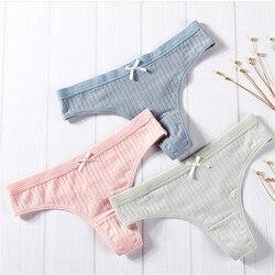 3Pcs/Lot Sexy G-String Cotton Women Briefs Panties T Back Underwear Seamless Thong Bikini Low Rise Waist Transparent Lady