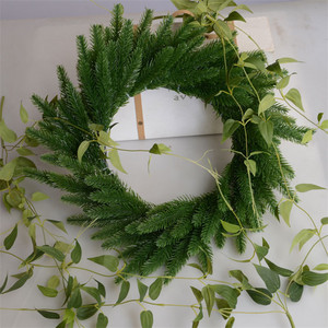 Image 3 - 50Pcs Artificial Pine tree branches plastic pine leaves for Christmas party decoration faux foliage fake flower DIY craft wreath