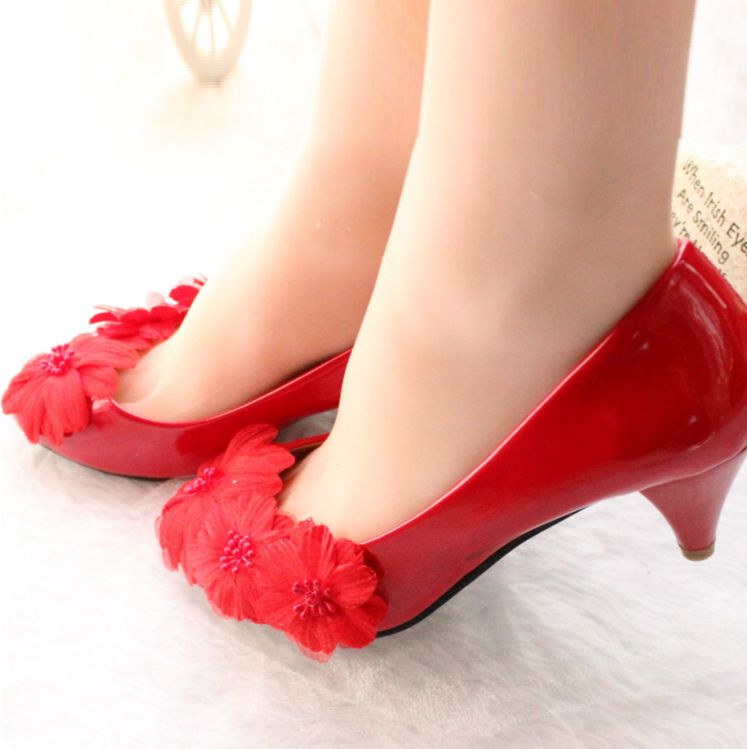 Red color med heek red party shoes