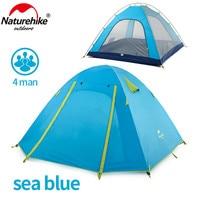 NatureHike 4 인 캠핑 텐트 더블 레이어 알루미늄로드 3 시즌 야외 하이킹 여행 플레이 텐트 방수 NH15Z003-P