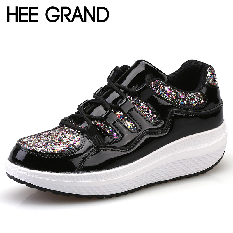 HEE GRAND 2017 Platform Creepers Bling Glitter Shoes Woman Lace-Up Casual Fashion Women Flats Shoes Size 35-40 XWD5546 hee grand lace up gladiator sandals 2017 summer platform flats shoes woman casual creepers fashion beach women shoes xwz4085