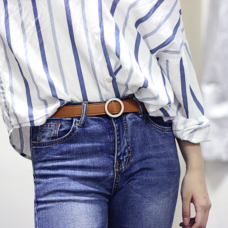 Womens wild needle-free round buckle free punching belt jeans female fashion student simple new pin