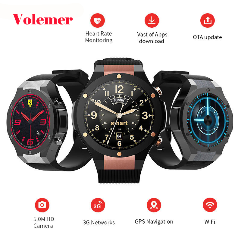 Volemer 2017 Newest H2 Android 5.1 MTK6580 1GB 16GB Smart Watch Clock with GPS Wifi 5MP Camera Smartwatch For Android iOS pk H1 цена