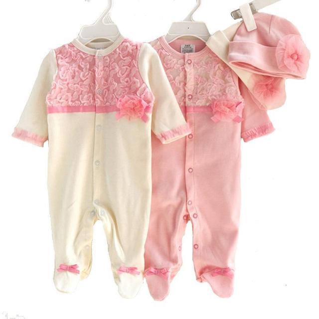 Estilo princesa bebê recém-nascido menina roupa dos miúdos aniversário dress meninas rendas conjuntos de roupas macacão + chapéus do bebê infantil macacão presentes