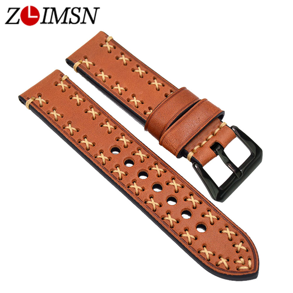 ZLIMSN Genuine Leather Watchband Replacement Black Brown Yellow Green Watch Bands 20 22 24 26mm Stainless Steel Black Pin Buckle zlimsn thick genuine leather watch band 20 22 24 26mm strap belt replacement stainless steel skull buckle relojes hombre