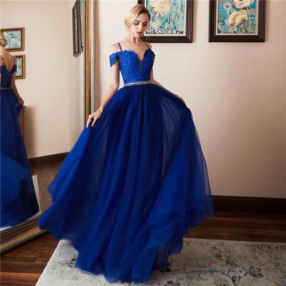 LAMYA レース V ネックイブニングドレスクリスタルビーズサッシ A ラインウエディングドレス背中のイブニングドレス vestido ロンゴフェスタ