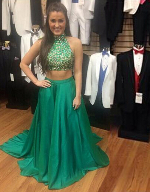 Fashion Two Pieces Satin Long Prom Dresses uk 2015 Beaded Sequined ...