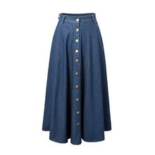 Women's Casual High Waist Single Breasted Skirt Lady's Ankle Length Long Denim Skirt Jeans Skirts Free Shipping