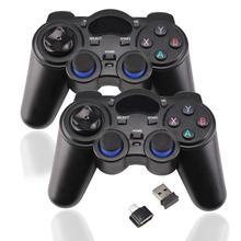 2 шт 2,4G игровой контроллер беспроводной геймпад джойстик для PS3 Android TV Box аналоговые палочки с 2 OTG адаптером 2 USB приемника d25