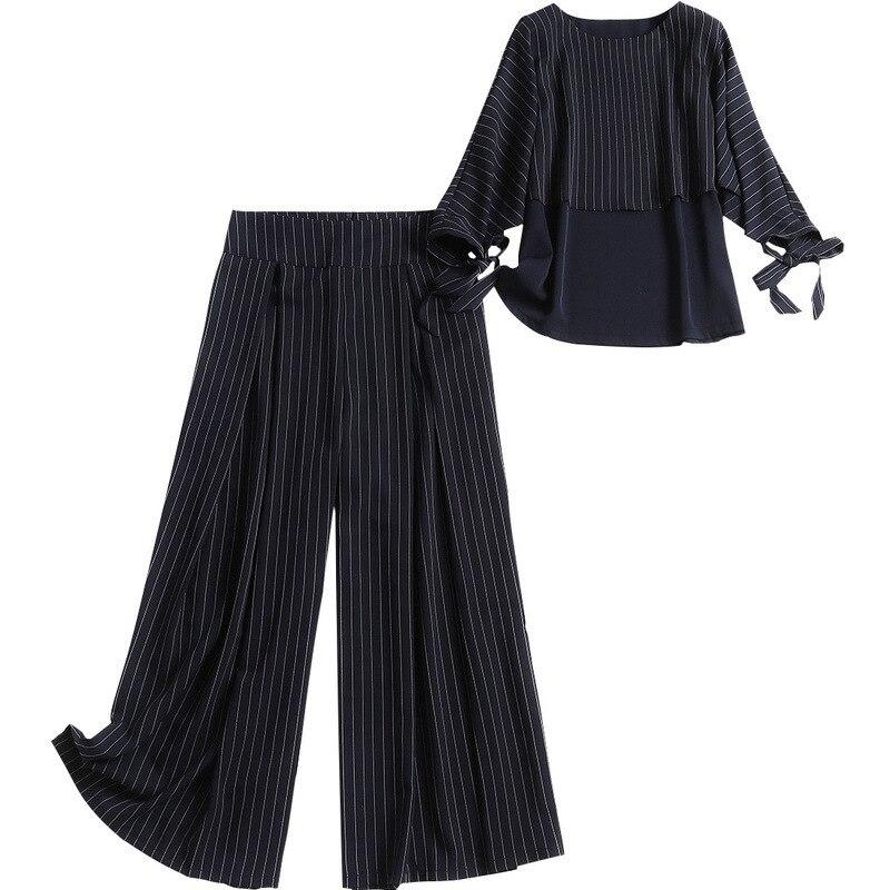 Large Bas Pantalon Bleu Manches 2019 En Rayé Avec Marine Femmes 4 Costume 2 longueur 50516 Shuchan Printemps Cheville Top 3 Ensemble Pièces qTgpx
