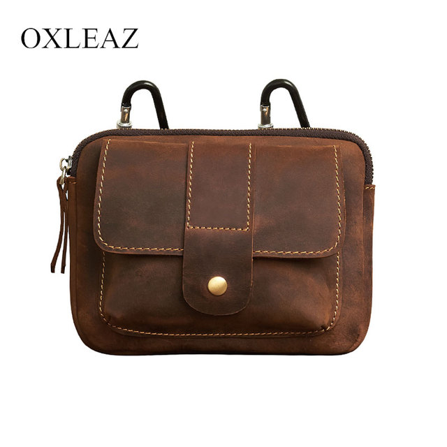 OXLEAZ Crazy Horse Travel Genuine Leather Waist Packs Fanny Pack Belt Bag  Vintage Male Small Waist Bag Leather Phone Pouch Bags