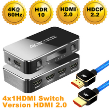 2019 4 Port 18Gbps HDR 4K HDMI 2.0 Switch 4x1 Support HDCP 2.2 HUB Box With IR Mini Remote For PS4 360