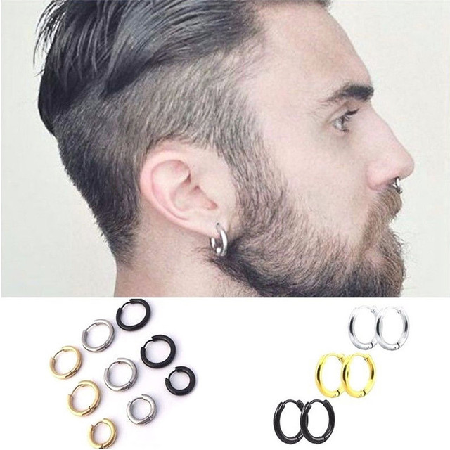Pinksee 1 Pair Stainless Steel Simple Round Stud Earring For Man Uni 3 Colors Ear Piercing