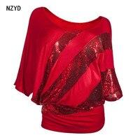 2017 Summer New Women T Shirt O Neck Pullover Bats Short Sleeves Paillette Tops Fashion Loose