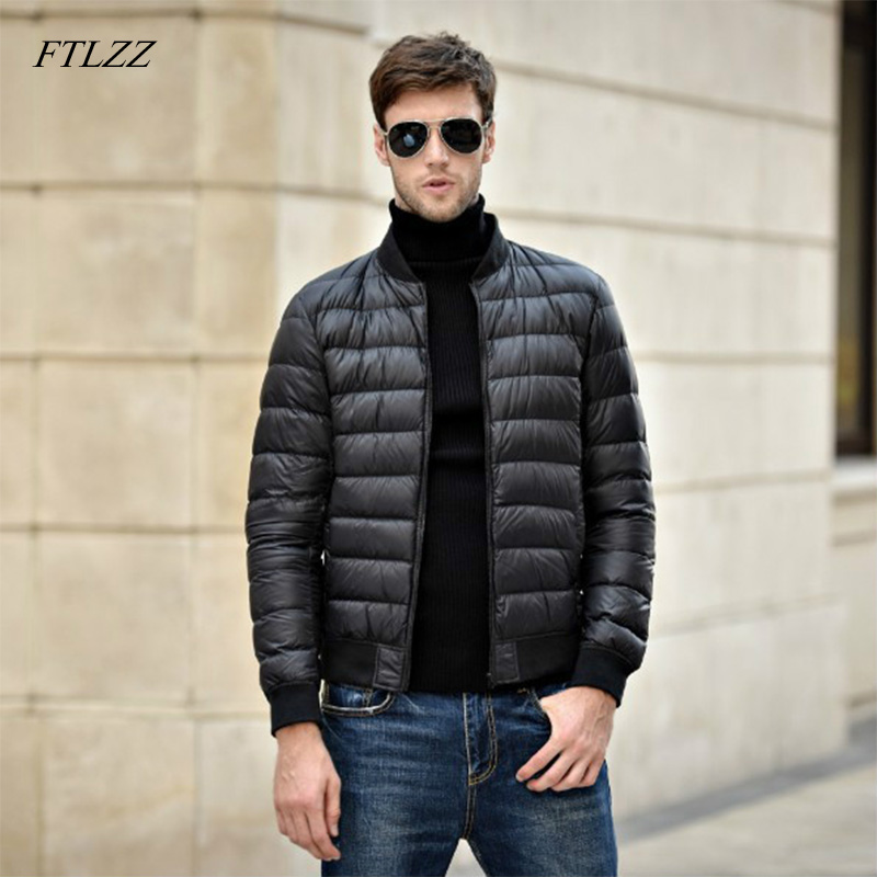 FTLZZ Winter New Jacket 90% White Duck Down Men Ultra Light Thin Jackets Slim Warm Coat Basic Outwear Windproof Parkas Coat