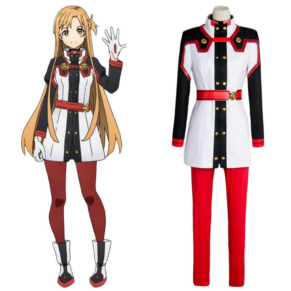 Original SAO Sword Art Online the Movie Ordinal Scale OS Asuna Yuuki Cosplay Costume Real 100% Outfit  Anime For Halloween