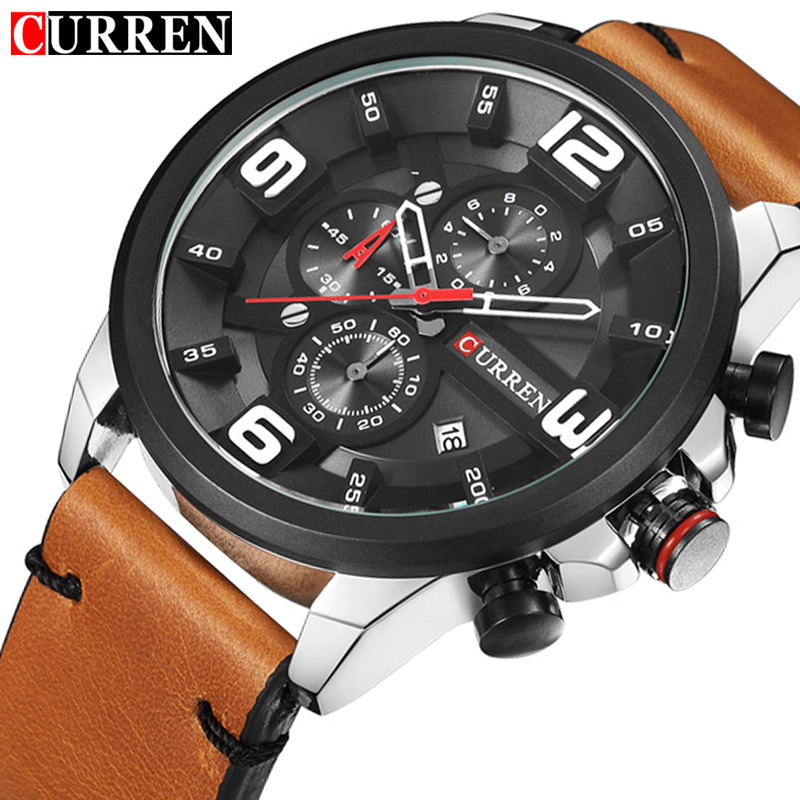 CURREN Relogio Masculino CURREN Watch Men Military Quartz Watch Mens Watches Top Brand Luxury Leather Sports Wristwatch curren m8113